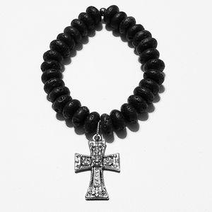 Other - Men's Black Lava Beads Cross Charm Bracelet